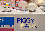 February 8th, 2012 : Tokyo, Japan – Pig shaped coin bar is displayed for The 73rd Tokyo International Gift show 2012 at Tokyo Big Sight. It can be painted by yourself. There are over 3 million items including gift products and everyday goods. 2500 exhibitors showcase their unique products. This exhibition is held from February 8 to 10. (Photo by Yumeto Yamazaki/AFLO).