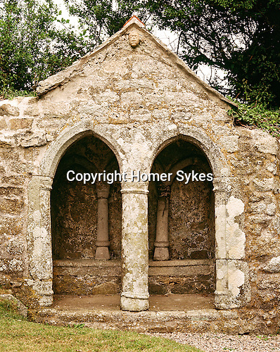 St Saint Germoe Germoes Chair, Germoe, Cornwall. Uk. Celtic Britain published by Orion. Ancient church dedicated to the Irish King Germochus.