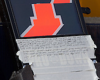 Handwritten down and ball locations are shown on a football down marker. The Pitt Panthers defeated the Virginia Tech Hokies 35-17 at Heinz field in Pittsburgh, PA on September 15, 2012.