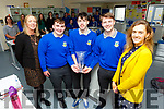 Students Kevin Lenihan, Eamon Nolan and James McDonald from the Castleisland Community College received the National Garda Youth Achievement Award at the weekend, standing with Theresa Lonergan (Acting Principal) and teacher Cait McEllistrim.