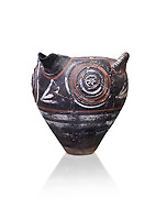 Minoan Kamares Ware with polychrome decorations on a rough prickly surface, Phaistos 1900-1700 BC; Heraklion Archaeological  Museum, white background.<br /> <br /> This style of pottery is named afetr Kamares cave where this style of pottery was first found