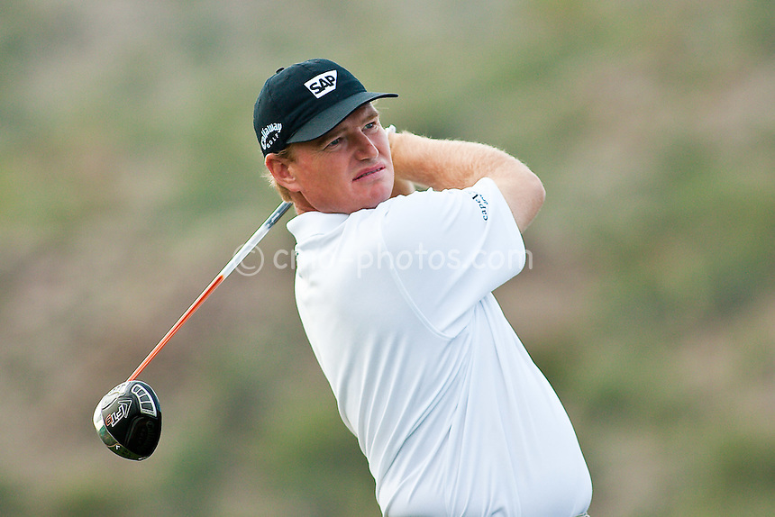 Feb 24, 2009; Marana, AZ, USA; Ernie Els (RSA) hits his tee shot on the 18th hole during a Tuesday practice round prior to the World Golf Championships-Accenture Match Play Championship at the Ritz-Carlton Golf Club, Dove Mountain.