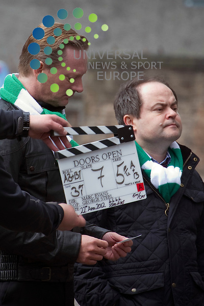 Ian Rankin's Doors Open staring Dougie Henshall and Stephen Fry, an art hewist thriller is filmed in the shaddow of the Hibs football ground, Edinburgh, Scotland, 22nd April, 2012..Picture:Scott Taylor Universal News And Sport (Europe) .All pictures must be credited to www.universalnewsandsport.com. (Office)0844 884 51 22.