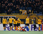 03.10.2019 Young Boys of Bern v Rangers: Christian Fassnacht celebrates his goal as Connor Goldson is stunned