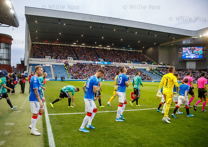 29.08.2019 Rangers v Legia Warsaw: BF1 section cordoned off as teams take to the pitch