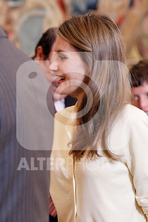 "Princess Letizia of Spain attends in audience a representation of the Public School for Special Education ""Pilar Soubrier"".May 22 ,2012. (ALTERPHOTOS/Acero)"