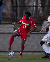 Rutgers University forward Sam Archer (11) dribbles. Rutgers University defeated Boston College in penalty kicks after two overtime periods in NCAA Division I tournament action, at Newton Campus Field, November 20, 2011.