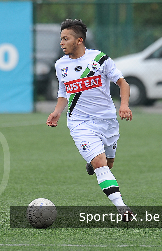 20150905 - KORTRIJK , BELGIUM : OHL 's Mehdi Bounou pictured during the Under 19 ELITE soccer match between KV Kortrijk and Oud Heverlee Leuven U19 , on the fourth matchday in the -19 Elite competition. Wednesday 5 September 2015. PHOTO DAVID CATRY