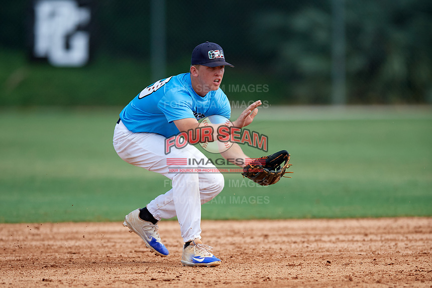 Spencer Schwellenbach (53) while playing for Chicago Scouts Association based out of Chicago, Illinois during the WWBA World Championship at the Roger Dean Complex on October 19, 2017 in Jupiter, Florida.  Spencer Schwellenbach is a shortstop / pitcher from Saginaw, Michigan who attends Heritage High School.  (Mike Janes/Four Seam Images)