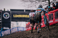defending World Champion Sanne Cant (BEL/Iko-Beobank) closing in on race leader Katie Compton (USA/KFC Racing p/b Trek/Panache)<br /> <br /> Women Elite Race<br /> UCI CX Worlds 2018<br /> Valkenburg - The Netherlands