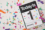 USA, Illinois, Metamora, January 1 calendar with confetti