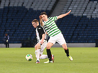 Allan Smith gets the better of Jackson Irvine in the Dunfermline Athletic v Celtic Scottish Football Association Youth Cup Final match played at Hampden Park, Glasgow on 1.5.13. ..