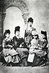 Circa 1870's, Japan - The First Study Abroad women went to the United States in 1871 with Iwakura mission. (L to R) Shigeko Nagai, Teiko Ueda, Ryoko Yoshimasu, Umeko Tsuda, Sutematsu Yamakawa. They are dressed in Western style. (Photo by Kingendai Photo Library/AFLO)