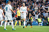 Real Madrid Gareth Bale celebrating a goal during La Liga match between Real Madrid and Celta de Vigo at Santiago Bernabeu Stadium in Madrid, Spain. May 12, 2018. (ALTERPHOTOS/Borja B.Hojas) /NORTEPHOTOMEXICO