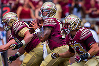 TALLAHASSEE, FLA 9/10/16-Florida State quarterback Deondre Francois, center, looks for a receiver during third quarter action against  Charleston Southern, Saturday at Doak Campbell Stadium in Tallahassee. <br /> COLIN HACKLEY PHOTO