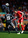 Nathaniel Clyne of Liverpool gets to the ball before Sofiane Boufal of Southampton during the English Premier League match at Anfield Stadium, Liverpool. Picture date: May 7th 2017. Pic credit should read: Simon Bellis/Sportimage