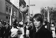 Manhattan, New York City, November 24, 1966 during the Thanksgiving parade, the French singer Francoise Hardy was seen on the top of a float promoting the movie 'Grand Prix' where she had a role.