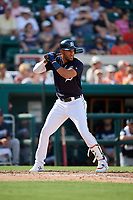 Detroit Tigers left fielder Victor Reyes (22) at bat during a Grapefruit League Spring Training game against the Atlanta Braves on March 2, 2019 at Publix Field at Joker Marchant Stadium in Lakeland, Florida.  Tigers defeated the Braves 7-4.  (Mike Janes/Four Seam Images)