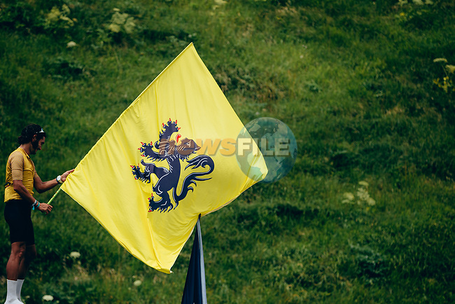 The Lion of Flanders flies proudly on Stage 12 of the 2019 Tour de France running 209.5km from Toulouse to Bagneres-de-Bigorre, France. 18th July 2019.<br /> Picture: ASO/Thomas Maheux   Cyclefile<br /> All photos usage must carry mandatory copyright credit (© Cyclefile   ASO/Thomas Maheux)