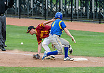 MIDDLETOWN, CT. 06 June 2018-060618BS505 - Seymour's Zack Edwards (4) gets ready to run to second as  St Joseph's Jimmy Evans-Captain (16) can't get to a wild throw to first base during the CIAC Tournament Class M Semi-Final baseball game between Seymour and St Joseph at Palmer Field on Wednesday evening. Seymour beat St Joseph 8-0 and will play Wolcott for the Class M championship on Saturday. Bill Shettle Republican-American
