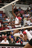 7 October 2005: Njideka Nnamani during Stanford's 3-1 loss to Washington at Maples Pavilion in Stanford, CA.