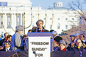 "Elie Wiesel, noted author, activist and winner of the Nobel Prize for Peace makes remarks at the ""Campaign to the Summit"", a march on Washington, D.C. supporting freedom for Jews living in the Soviet Union, on Sunday, December 6, 1987. 200,000 people marched to focus attention on the repression of Soviet Jewry, was scheduled a day before United States President Ronald Reagan and Soviet President Mikhail Gorbachev began a 2 day summit in Washington where they signed the Intermediate Range Nuclear Forces (INF) Treaty.<br /> Credit: Ron Sachs / CNP"