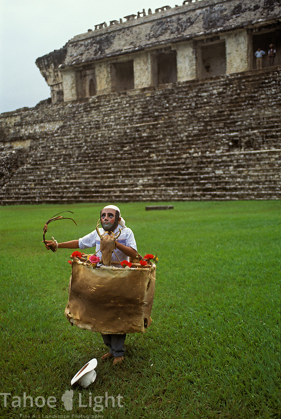 A traditional Mayan ceremony and dance to celebrate the summer solstice at the ruins of Palenque in Chiapas, Mexico