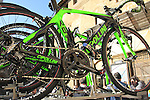 Bardiani CSF team Cipollini bikes atop the team car before the start of the 2015 Strade Bianche Eroica Pro cycle race 200km over the white gravel roads from San Gimignano to Siena, Tuscany, Italy. 7th March 2015<br /> Photo: Eoin Clarke www.newsfile.ie