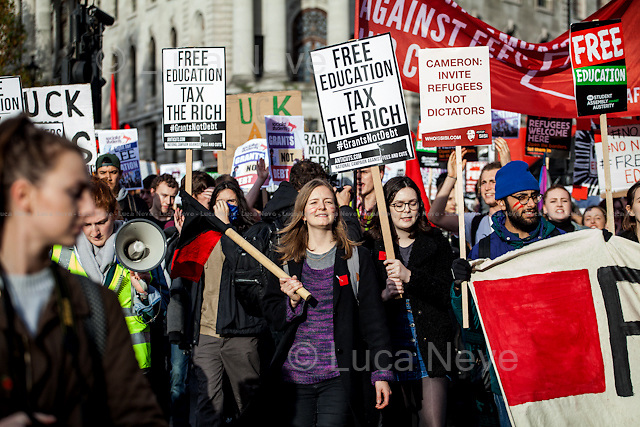 London, 04/11/2015. Thousands of students marched in central London protesting against the British Government plans to cut grants for university students. The demonstration was patrolled by a heavy police present and clashes happened outside the Department of Business, Innovation and Skills (BIS). From the organisers Facebook page: &lt;&lt;From scrapping Maintenance Grants, planning to raise tuition fees, slashing support for disabled students and making brutal funding cuts to Adult &amp; Further Education; to keeping thousands of people locked up in detention centres and deporting international students to their deaths: the Conservative Government is attacking us from all sides, and it's time to fight back. We don't just want a return to small grants that are barely enough to pay rent; we want living grants for all, so that no student has to live in poverty, and a system of support which means there are no barriers to the education system.[&hellip;]&gt;&gt;.<br />