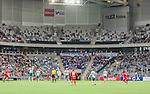 Stockholm 2015-04-25 Fotboll Allsvenskan Hammarby IF - &Aring;tvidabergs FF :  <br /> Vy &ouml;ver Tele2 Arena med publik , &Aring;tvidabergs supportrar och tomma l&auml;ktarsektioner under matchen mellan Hammarby IF och &Aring;tvidabergs FF <br /> (Foto: Kenta J&ouml;nsson) Nyckelord:  Fotboll Allsvenskan Tele2 Arena Hammarby HIF Bajen &Aring;tvidaberg &Aring;FF inomhus interi&ouml;r interior supporter fans publik supporters