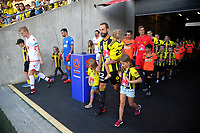 Andrew Durante leads his team out for the A-League football match between Wellington Phoenix and Adelaide United at Westpac Stadium in Wellington, New Zealand on Saturday, 27 January 2018. Photo: Dave Lintott / lintottphoto.co.nz
