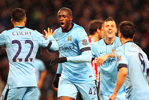 01.01.2015.  Manchester, England. Barclays Premier League. Manchester City versus Sunderland. Manchester City midfielder Yaya Toure celebrates scoring his teams first goal for 1-0