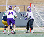 University at Albany Men's Lacrosse defeats Drexel 18-5 on Feb. 24 at Casey Stadium.  Albany goalkeeper JD Colarusso (#9). (Photo by Bruce Dudek / Cal Sport Media/Eclipse Sportswire)