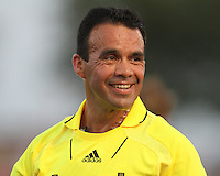 Referee Hilario Grajeda during a US Open Cup match between D.C United and the Harrisburg City Islanders at the Maryland Soccerplex on July 21 2010, in Boyds, Maryland. United won 2-0.