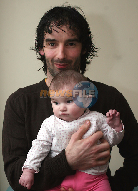 Baby Gretta Kieran Cullen who was born with a condition known as Septo-Optic Dysplasis  (Morsiers Syndrome). Pictured here with her dad Thomas Cullen...Photo NEWSFILE/Jenny Matthews.(Photo credit should read Jenny Matthews/NEWSFILE)....This Picture has been sent you under the condtions enclosed by:.Newsfile Ltd..The Studio,.Millmount Abbey,.Drogheda,.Co Meath..Ireland..Tel: +353(0)41-9871240.Fax: +353(0)41-9871260.GSM: +353(0)86-2500958.email: pictures@newsfile.ie.www.newsfile.ie.FTP: 193.120.102.198.