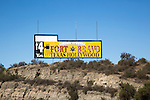 Sign advertising Fort Bravo movie set tourist attraction, Tabernas,  Almeria, Spain