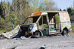 23/04/2015 View of the derelict Saxonvale and surrounding industrial area of Frome.<br /> <br /> A destroyed van sits on tarmac at the Saxonvale site, Frome, Somerset, UK.<br /> <br /> Photo &copy; Tim Gander. All rights reserved. For licensing enquiries, please contact tim@timgander.co.uk or call 07703 124412.