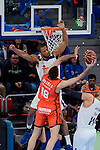 Real Madrid's Anthony Randolph and Valencia Basket's Pierre Oriola during 2017 King's Cup match between Real Madrid and Valencia Basket at Fernando Buesa Arena in Vitoria, Spain. February 19, 2017. (ALTERPHOTOS/BorjaB.Hojas)