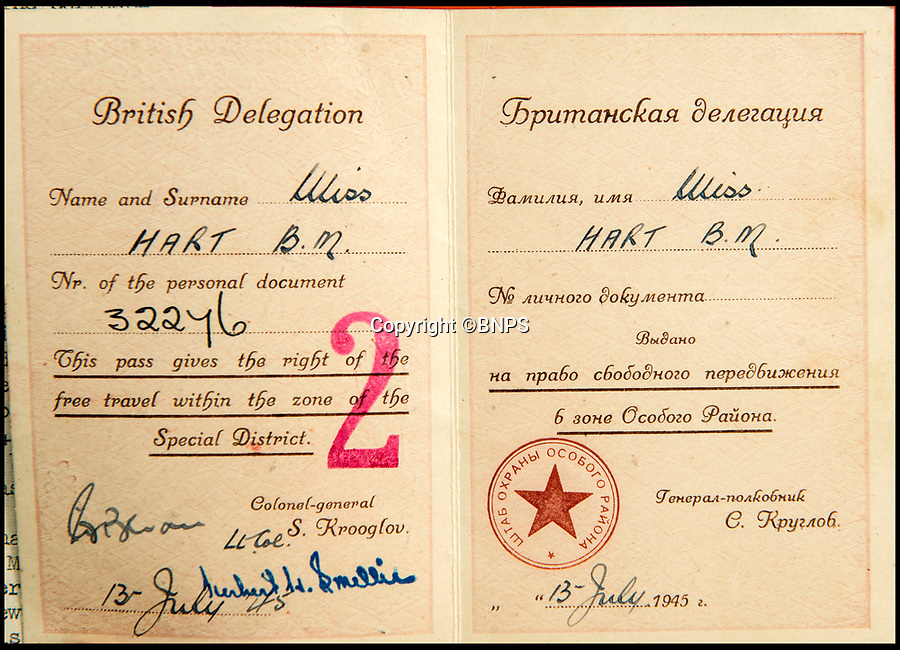 BNPS.co.uk (01202 558833)<br /> Pic: C&amp;T/BNPS<br /> <br /> Brenda's pass for the Berlin Conference in 1945.<br /> <br /> A humble secretary's remarkable first hand archive of some of the most momentous events of WW2 has come to light.<br /> <br /> 'Miss Brenda Hart' worked in the Cabinet Office during the last two years of the war, travelling across the globe with the Allied leaders as the conflict drew to a close.<br /> <br /> Her unique collection of photographs and momentoes of Churchill, Stalin and other prominent Second World War figures have been unearthed after more than 70 years.<br /> <br /> The scrapbooks, which also feature Lord Mountbatten and Vyacheslav Molotov, were collated by Brenda Hart who, in her role as secretary to Churchill's chief of staff General Hastings Ismay, enjoyed incredible access to him and other world leaders.<br /> <br /> She also wrote a series of letters which give fascinating insights, including watching Churchill and Stalin shaking hands at the Bolshoi ballet in 1944, being behind Churchill as he walked out on to the balcony at the Ministry of Health to to wave to some 50,000 Londoners on VE day and even visiting Hitler's bombed out Reich Chancellery at the end of the war.<br /> <br /> This unique first hand account, captured in a collection of photos, passes, documents and letters are being sold at C&amp;T auctioneers on15th March with a &pound;1200 estimate.