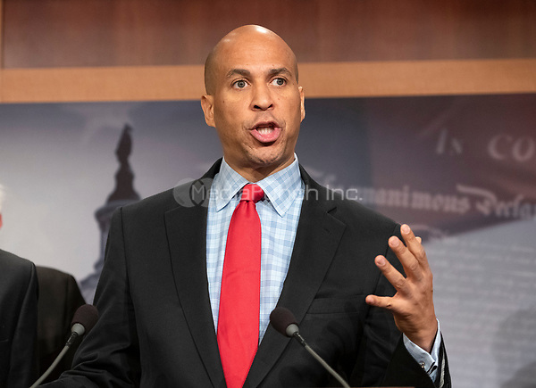 United States Senator Cory Booker (Democrat of New Jersey) makes remarks at a press conference in the US Capitol in Washington, DC announcing a Democratic package of three bills to be introduced in the US Senate and US House to control prescription drug prices on Thursday, January 10, 2019.<br /> Credit: Ron Sachs / CNP /MediaPunch