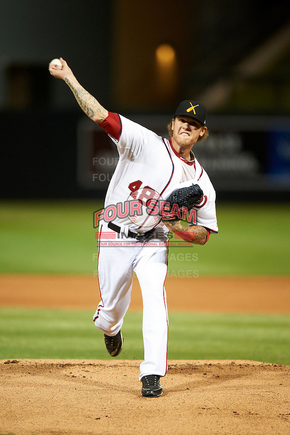 Salt River Rafters pitcher Ryan Perry #48, of the Washington Nationals organization, during an Arizona Fall League game against the Scottsdale Scorpions at Salt River Fields at Talking Stick on October 11, 2012 in Scottsdale, Arizona.  Salt River defeated Scottsdale 6-5.  (Mike Janes/Four Seam Images)