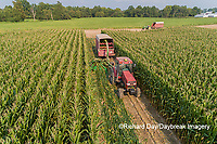 63801-10616 Farmer cutting corn for silage-aerial Marion Co. IL