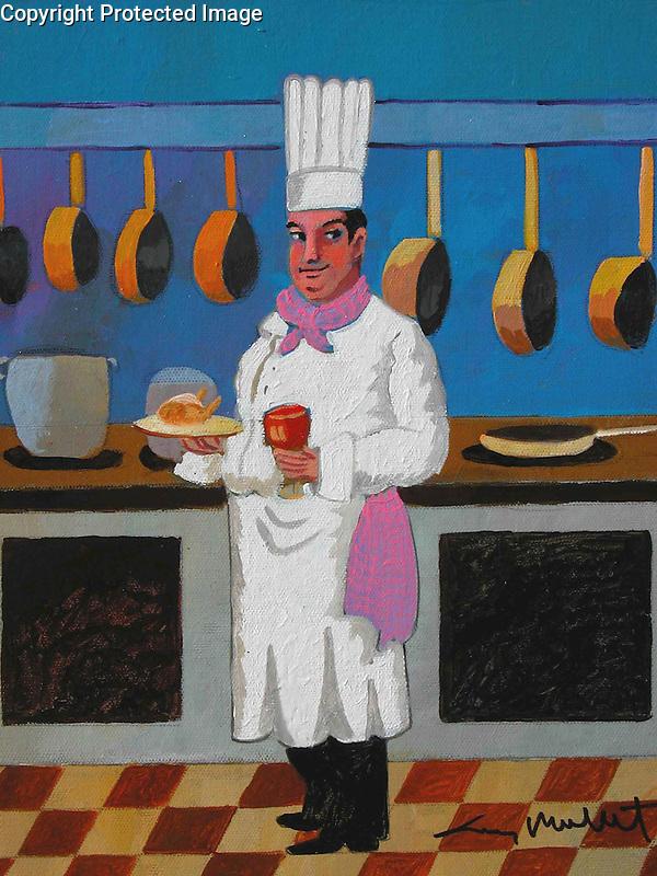 &quot;Coq au Vin&quot;<br /> ORIGINAL Acrylic on Box Canvas with painted sides.<br /> 14x11<br /> $4,500