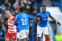 Jamal Lowe of Portsmouth and Omar Bogle of Portsmouth congratulate each other during Portsmouth vs Doncaster Rovers, Sky Bet EFL League 1 Football at Fratton Park on 2nd February 2019