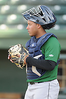 Catcher Roberto Pena (10) of the Lexington Legends, a Houston Astros affiliate, prior to a game against the Greenville Drive on May 2, 2012, at Fluor Field at the West End in Greenville, South Carolina. Lexington won, 4-2. (Tom Priddy/Four Seam Images)