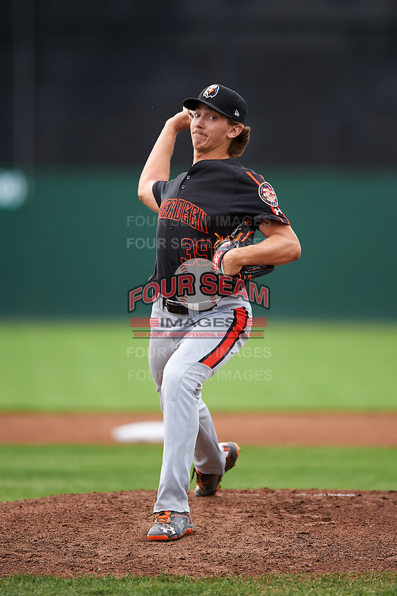 Aberdeen IronBirds starting pitcher Hunter Harvey (39) delivers a warmup pitch during a game against the Batavia Muckdogs on July 16, 2016 at Dwyer Stadium in Batavia, New York.  Aberdeen defeated Batavia 4-2.  (Mike Janes/Four Seam Images)