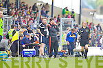 Cian O'Neill Kerry Trainer and Eamon Fitzmaurice Kerry Manager in the first round of the Munster Football Championship at Fitzgerald Stadium on Sunday.