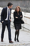 Politician Soraya Rodriguez and Patxi Lopez arrive to the state funeral for former Spanish prime minister Adolfo Suarez at the Almudena Cathedral in Madrid, Spain. March 31, 2014. (ALTERPHOTOS/Victor Blanco)