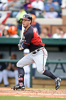 Atlanta Braves outfielder Jordan Schafer (17) during a spring training game against the Detroit Tigers on February 27, 2014 at Joker Marchant Stadium in Lakeland, Florida.  Detroit defeated Atlanta 5-2.  (Mike Janes/Four Seam Images)