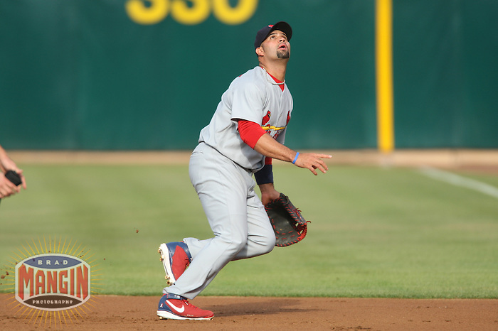 OAKLAND, CA - June 16:  Albert Pujols of the St. Louis Cardinals plays defense at first base during the game against the Oakland Athletics at the McAfee Coliseum in Oakland, California on June 16, 2007.  The Cardinals defeated the Athletics 15-6.  Photo by Brad Mangin